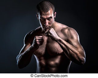 Ultimate Fighter - muscular powerful man in full guard ready...