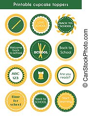 Back to school printable cupcake toppers Vector set of...