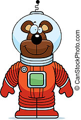 Bear Astronaut - A happy cartoon bear astronaut in a...