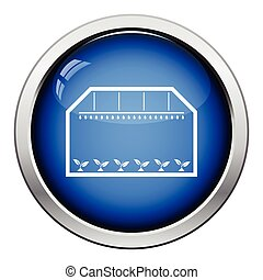 Greenhouse icon Glossy button design Vector illustration
