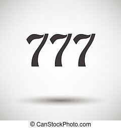 777 icon on gray background with round shadow. Vector...