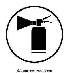 Extinguisher icon. Thin circle design. Vector illustration.