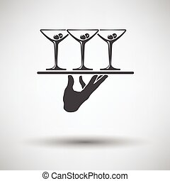 Waiter hand icon - Waiter hand holding tray with martini...