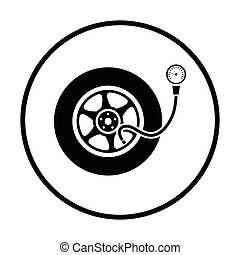 Tire pressure gage icon Thin circle design Vector...