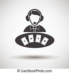 Casino dealer icon on gray background with round shadow...