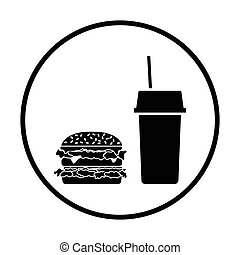 Fast food icon Thin circle design Vector illustration