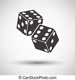Craps dice icon on gray background with round shadow. Vector...