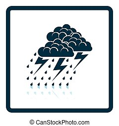 Thunderstorm icon Shadow reflection design Vector...