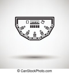 Poker table icon on gray background with round shadow....