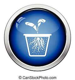 Seedling icon Glossy button design Vector illustration