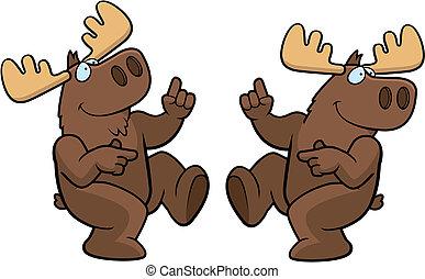 Moose Dancing - A happy cartoon moose dancing and smiling.