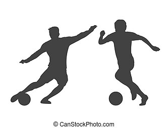 Soccer players silhouettes isolated over white