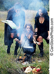 witches conjure with potion - three witches conjure with...