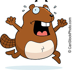 Beaver Panic - A cartoon beaver running in a panic.
