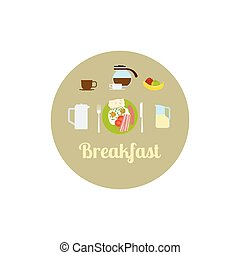 Breakfast food isolated icon set. Vector illustration