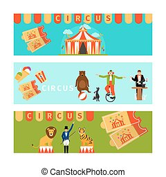 Circus banners in modern flat style