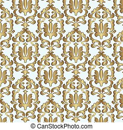 Classic style damask ornament pattern in gold Vector