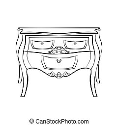 Classic table furniture with royal luxury ornaments
