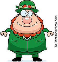 Leprechaun Smiling - A happy cartoon leprechaun standing and...