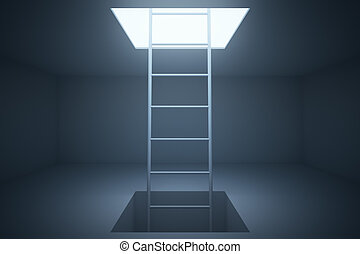 Escape ladder in room - Escape ladder in grey room 3D...