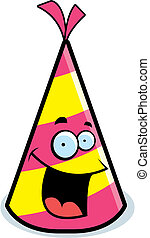 Party Hat Smiling - A cartoon party hat happy and smiling.