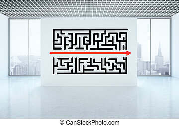 Obstacle overcoming concept - Maze sketch on concrete wall...