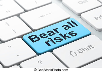 Insurance concept: Bear All Risks on computer keyboard...