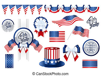 Decoration items for Fourth of July (with clipping path)