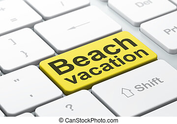 Travel concept: Beach Vacation on computer keyboard...