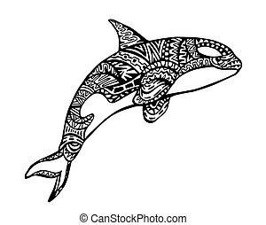 Killer Whale Zentangle Illustration