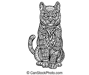 Cute Cat Zentangle Illustration - Ethnic Animal Doodle...