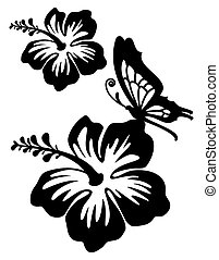 Hibiscus silhouette in two versions with clipping path