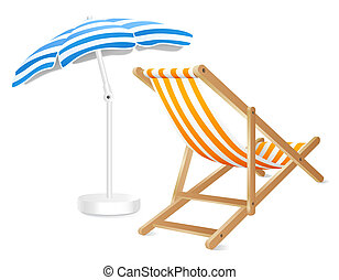 Deck chair and umbrella (with clipping path).