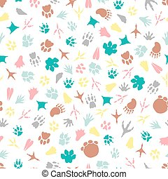 Colorful animal footprints seamless pattern