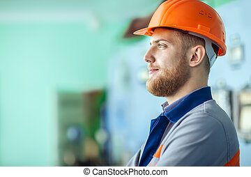 young engineer at workplace in factory