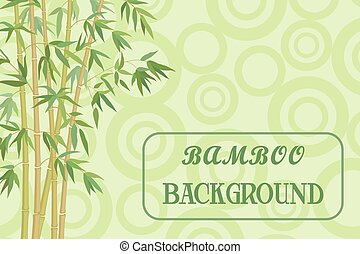 Bamboo Stems with Green Leaves on Background, Abstract...