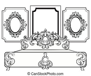 Baroque royal set of furniture with wall frames. Vector
