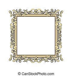 Gold frame decorated with golden roses