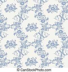 Vintage ornament pattern with serenity blue flowers Vector