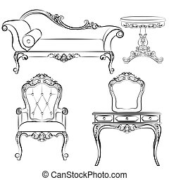 Set of classic furniture with ornaments
