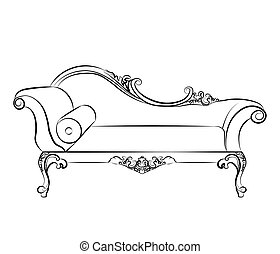 Classic elegant sofa with ornaments