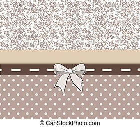 Vintage Lace card with bow. Vector