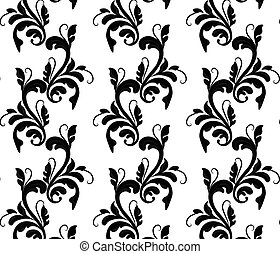 Classic style floral ornament pattern in black Vector