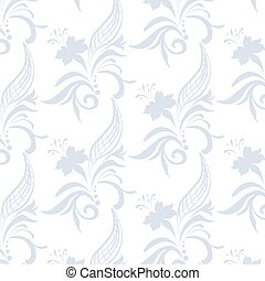 Vintage ornament pattern with blue flowers Vector
