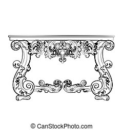 Classic Baroque style table with ornaments - Classic Baroque...