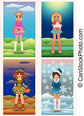 Set seasons little girls, vector