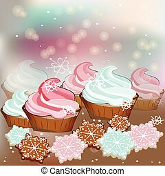 Winter Christmas sweets cupcakes