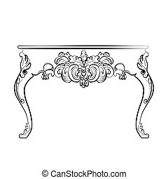 Baroque style table with ornaments