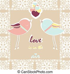 Two pigeons card with love hearts