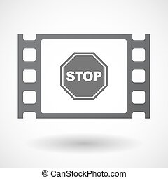 Isolated celluloid film frame icon with a stop signal -...
